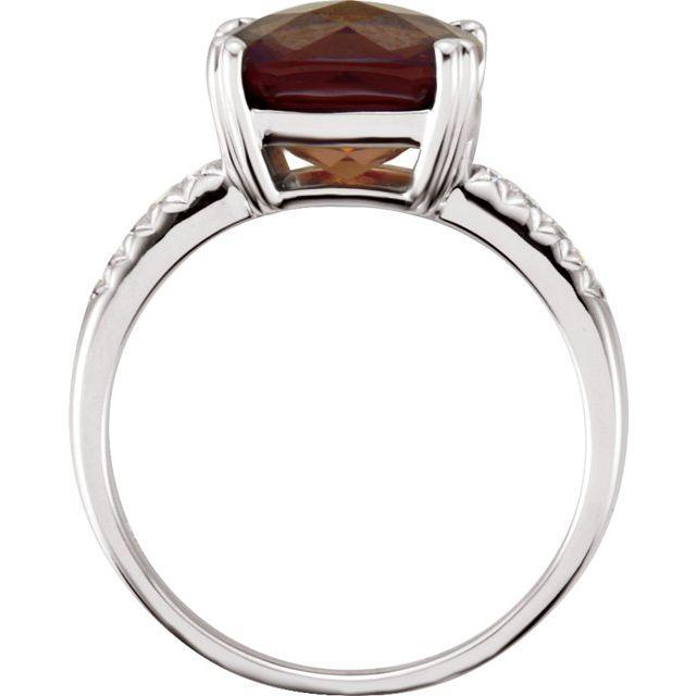 14K White .08 CTW Diamond & 10x10 mm Smoky Quartz Ring