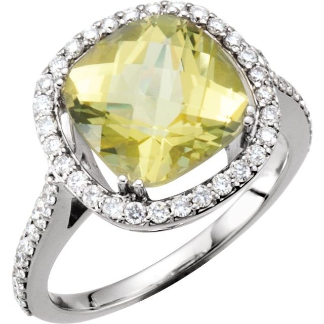 14K White 1/2 CTW Diamond & 10x10 mm Lemon Quartz Ring