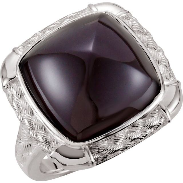 Sterling Silver Onyx Woven-Design Ring