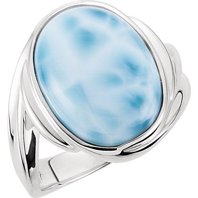 Cabochon Larimar Ring