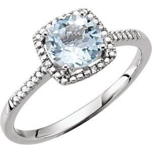 Sterling Silver Aquamarine & .01 CTW Diamond Ring Size 7