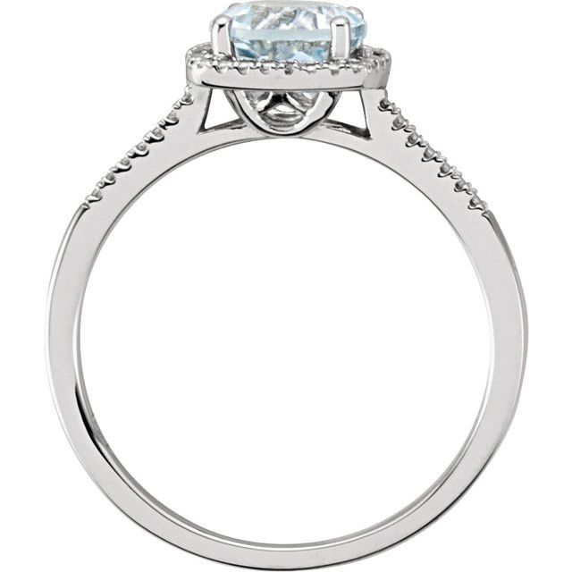 Sterling Silver Aquamarine & .01 CTW Diamond Ring Size 7