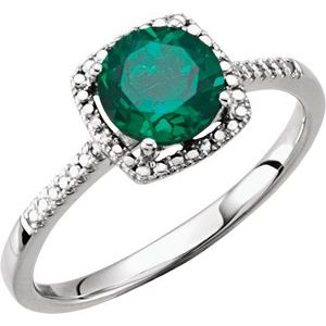 Sterling Silver Lab-Created Emerald & .01 CTW Diamond Ring Size 5