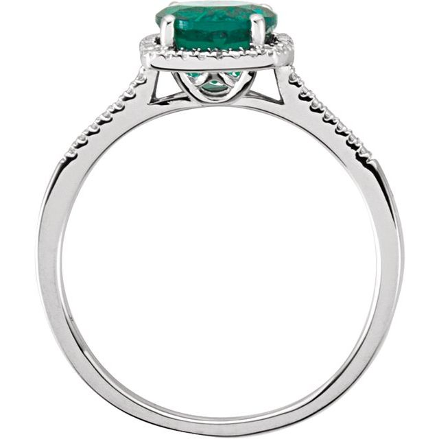 Sterling Silver Lab-Grown Emerald & .01 CTW Diamond Ring Size 6