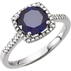 Sterling Silver Lab-Grown Blue Sapphire & .01 CTW Diamond Ring Size 8