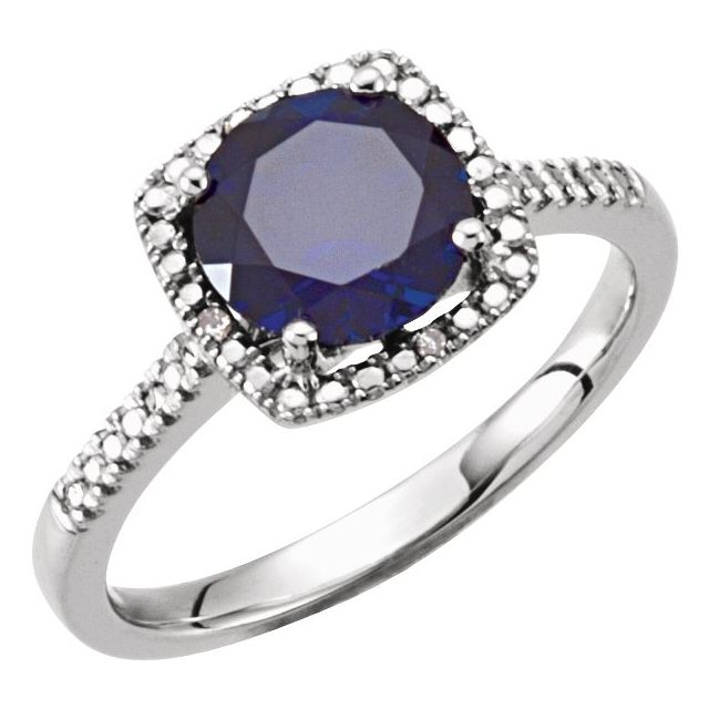 Sterling Silver Lab-Created Blue Sapphire & .01 CTW Diamond Ring Size 8