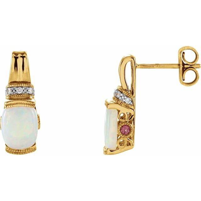 14K Yellow Opal, Pink Tourmaline & .05 CTW Diamond Earrings