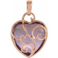 14K Rose Cabochon Rose de France Heart Pendant