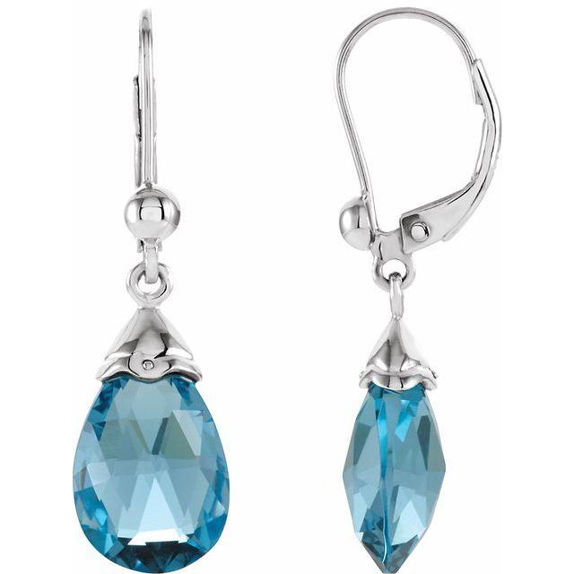 14K White Swiss Blue Topaz Earrings