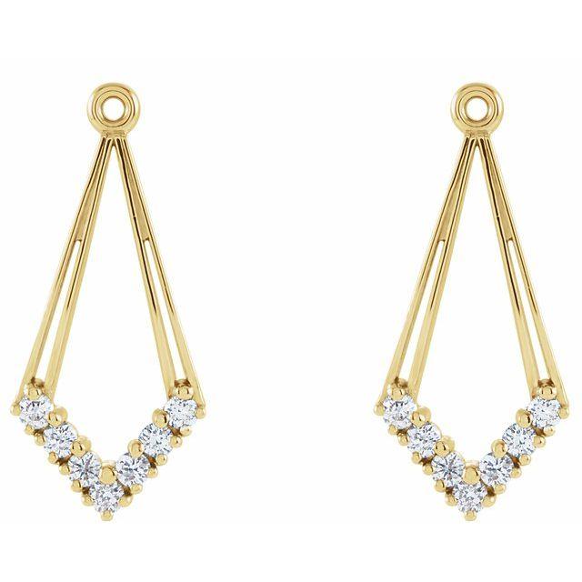 14K Yellow 1/4 CTW Diamond Earring Jackets