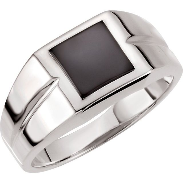 14K White 8 mm Square Onyx Ring