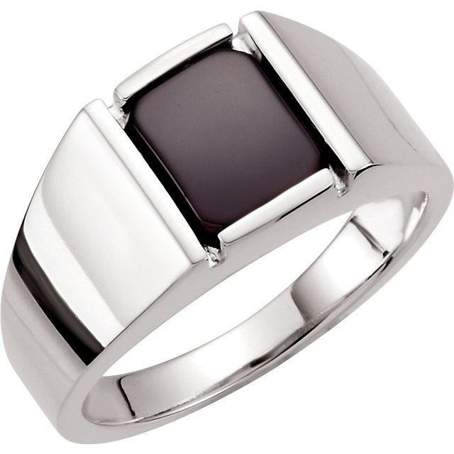 Sterling Silver Onyx Bezel-Set Ring