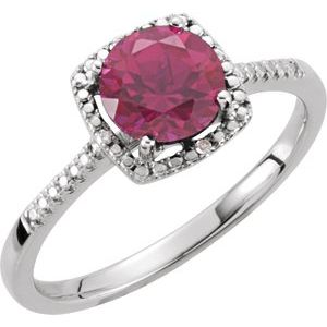 Sterling Silver Lab-Grown Ruby & .01 CTW Diamond Ring Size 8