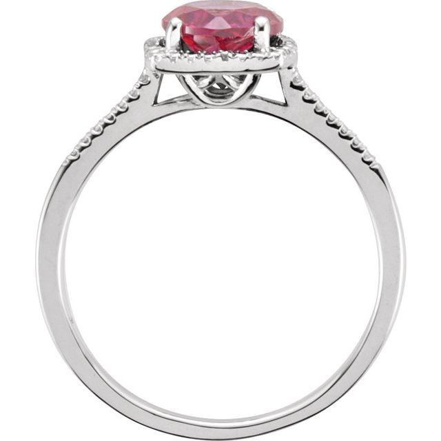 Sterling Silver Lab-Created Ruby & .01 CTW Diamond Ring Size 7