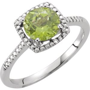 Sterling Silver Peridot & .01 CTW Diamond Ring Size 5