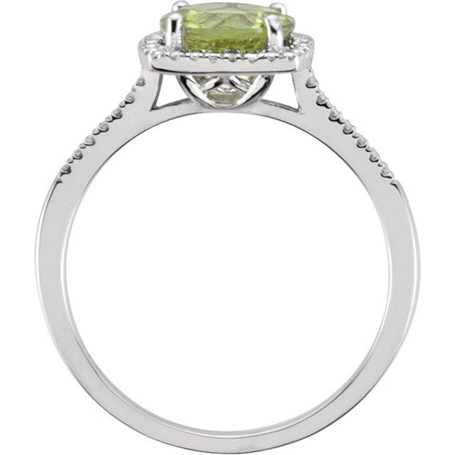 Sterling Silver Peridot & .01 CTW Diamond Ring Size 7