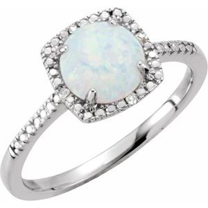 Sterling Silver Created White Opal & .01 CTW Diamond Ring Size 8