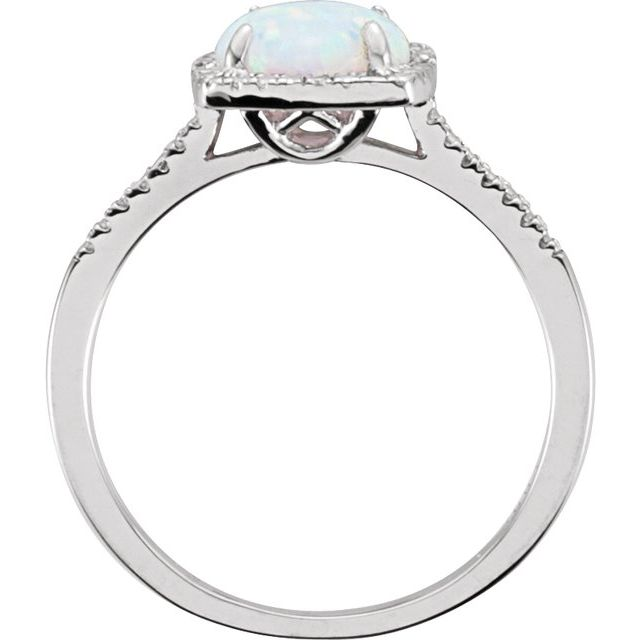 Sterling Silver Created White Opal & .01 CTW Diamond Ring Size 6
