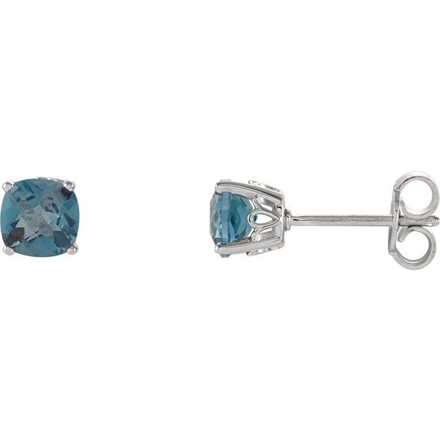 Sterling Silver 5x5 mm Cushion London Blue Topaz Scroll Setting® Earring