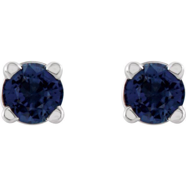 14K White 2.5 mm Round Lab-Grown Blue Sapphire Earrings
