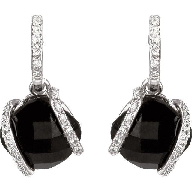 14K White Onyx & 1/5 CTW Diamond Freeform Earrings