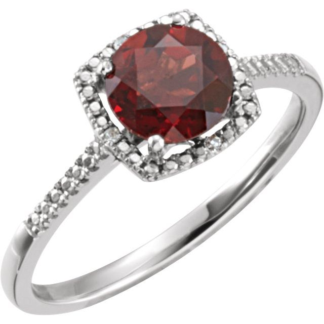 Sterling Silver Mozambique Garnet & .01 CTW Diamond Ring Size 5