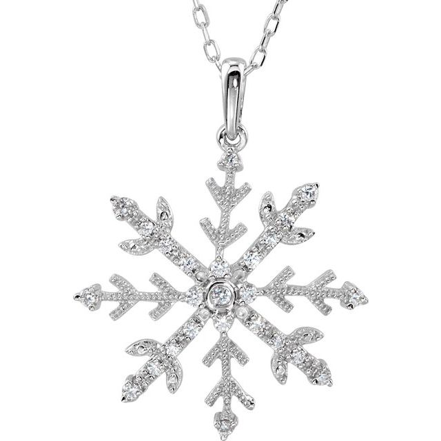Sterling Silver Cubic Zirconia Snowflake 18