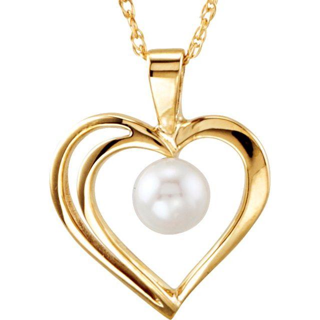 14K Yellow Akoya Cultured Pearl Heart 18