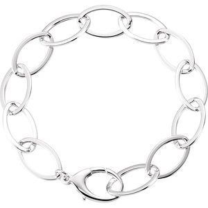 "Sterling Silver 11.2 mm Oval Link 8"" Bracelet"