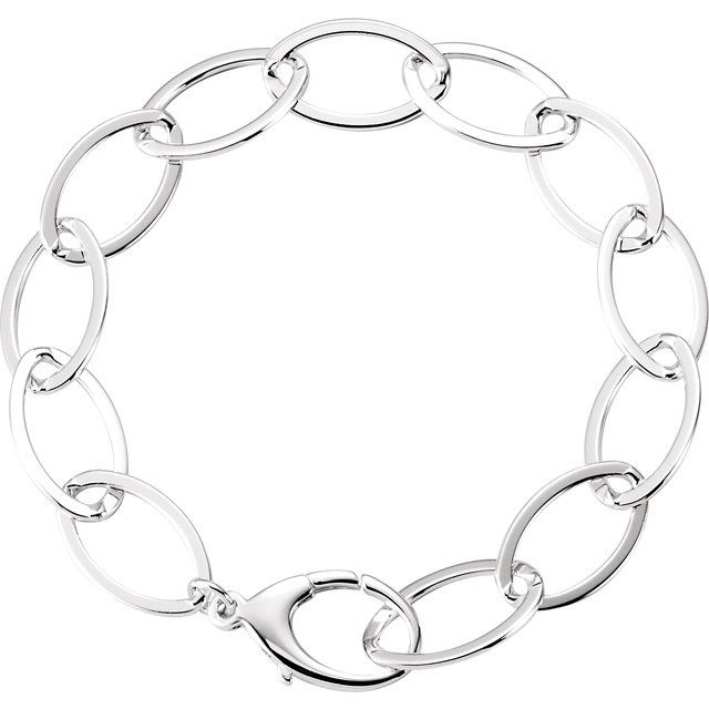 Sterling Silver 11.2 mm Oval Link 8