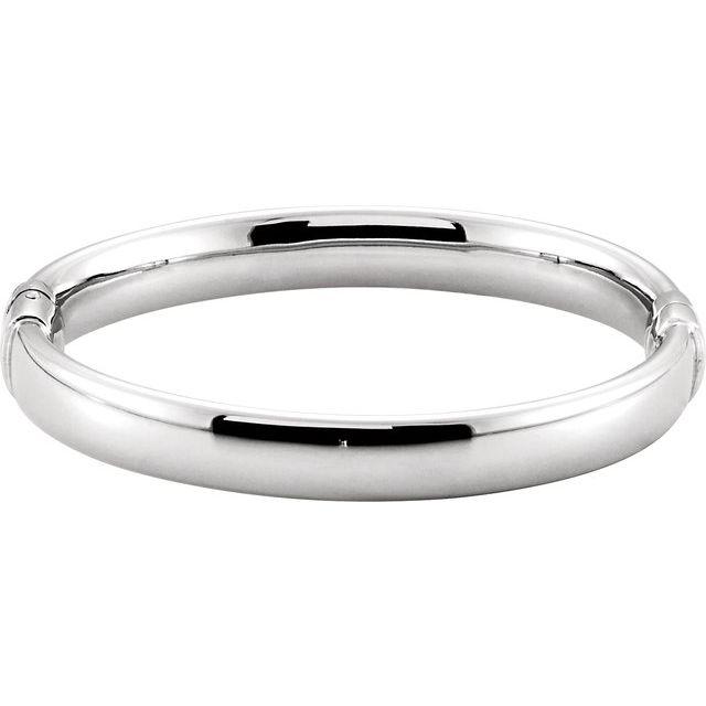 Sterling Silver 9 mm Hinged Bangle Bracelet