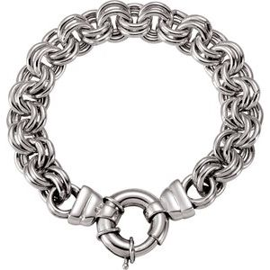 """Sterling Silver Solid Double Cable 8"""" Bracelet"""