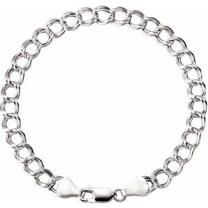 "Sterling Silver 4.5 mm Hollow Curb Charm 7"" Bracelet"