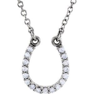 "Platinum .08 CTW Diamond Horseshoe 16"" Necklace"