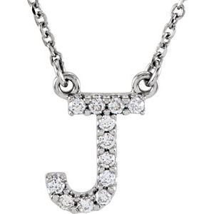 "14K White Initial J 1/8 CTW Diamond 16"" Necklace"