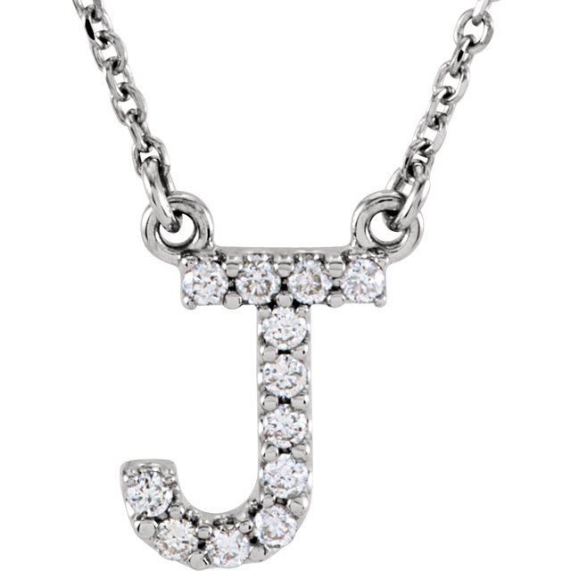 14K White Initial J 1/8 CTW Diamond 16