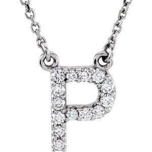 "14K White Initial P 1/8 CTW Diamond 16"" Necklace"