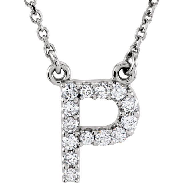 14K White Initial P 1/8 CTW Diamond 16