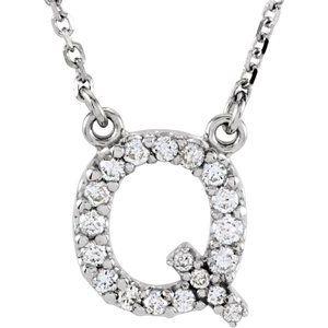 "14K White Initial Q 1/8 CTW Diamond 16"" Necklace"