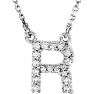 "14K White Initial R 1/8 CTW Diamond 16"" Necklace"