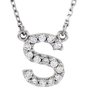 "14K White Initial S 1/8 CTW Diamond 16"" Necklace"