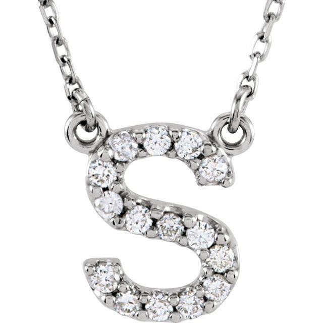 14K White Initial S 1/8 CTW Diamond 16