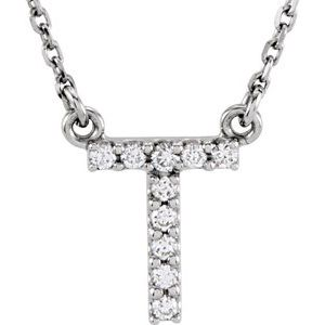 "14K White Initial T .08 CTW Diamond 16"" Necklace"