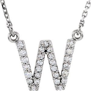 "14K White Initial W 1/8 CTW Diamond 16"" Necklace"