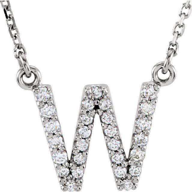 14K White Initial W 1/8 CTW Diamond 16