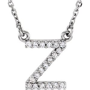 "14K White Initial Z .08 CTW Diamond 16"" Necklace"