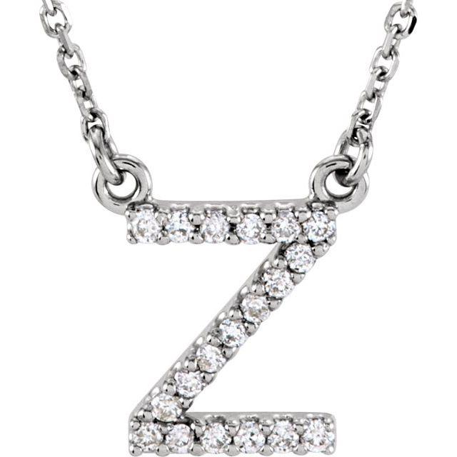 14K White Initial Z .08 CTW Diamond 16
