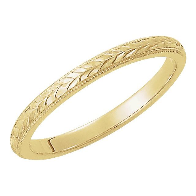 14K Yellow 2 mm Design-Engraved Band Size 7