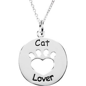 """Sterling Silver Heart U Back™ Cat Lover Paw 18"""" Necklace"""