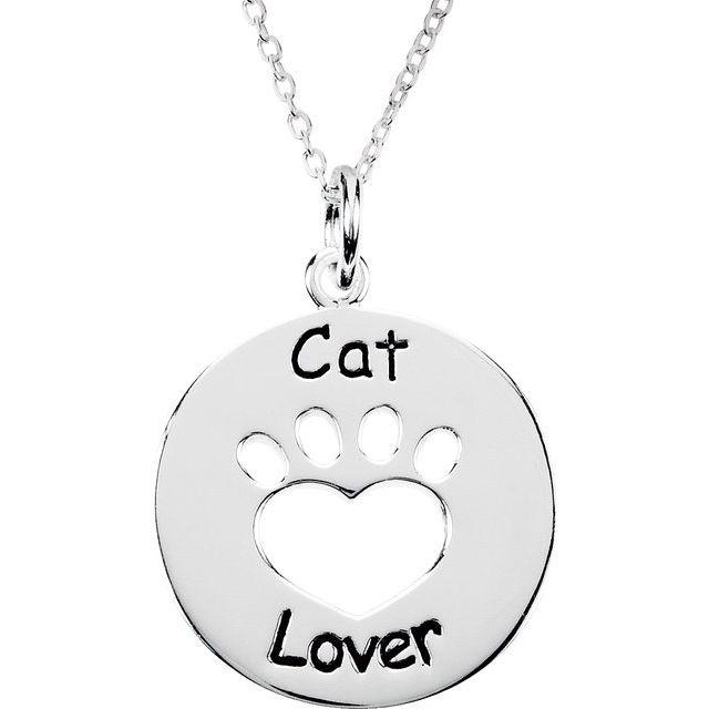 Sterling Silver Heart U Back™ Cat Lover Paw 18